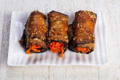 Tasty zucchini roll Royalty Free Stock Images
