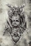 Tatúe el arte, el bosquejo de los engranajes de una máquina y el cráneo stock de ilustración