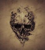 Tatúe el cráneo sobre el papel del vintage, diseño hecho a mano Fotografía de archivo libre de regalías