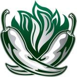 Tatúe el ejemplo del estilo con dos pimientas verdes en fuego Imágenes de archivo libres de regalías