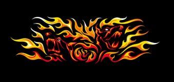 Tatúe el ejemplo del estilo de dos perros enojados en llamas Foto de archivo