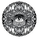 Tatúe el ojo en marco floral redondo en el fondo blanco Imagenes de archivo