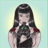 Tatúe a la muchacha con el gato EPS 8 del animal doméstico, agrupado para corregir fácil, sin formas abiertas o trayectorias Foto de archivo