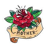 Tatúe la rosa del rojo con la madre de la cinta y de las letras Estilo de la escuela vieja Fotografía de archivo libre de regalías