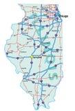 état de route de carte de l'Illinois Photos libres de droits