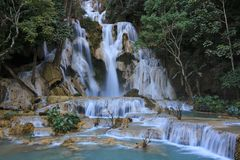 Tat Kuang Si Waterfall en Luang Prabang Laos Foto de archivo libre de regalías