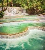 Tat Kuang Si Waterfalls. Beautiful landscape. Laos. Royalty Free Stock Images