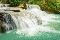 Tat Kuang Si Waterfalls. Beautiful landscape. Laos. Royalty Free Stock Photos
