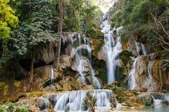 Tat Kuang Si Waterfalls in Laos Stock Foto's