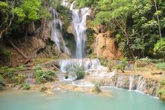 Tat Kuang Si Waterfalls is a three tier waterfall of Luang Prabang ,Laos Stock Photo