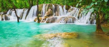 Tat Sae Waterfalls. Beautiful landscape, Laos. Panorama Stock Photo