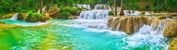 Tat Sae Waterfalls. Beautiful landscape, Laos. Panorama Stock Images
