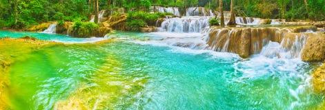 Tat Sae Waterfalls. Beautiful landscape, Laos. Panorama Royalty Free Stock Images