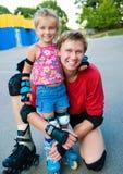 tata córka jego łyżwy Zdjęcia Stock