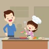 Tata córki przyglądający kucharstwo Zdjęcie Stock