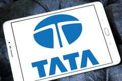 Tata car logo. Logo of tata car brand on samsung tablet Royalty Free Stock Images