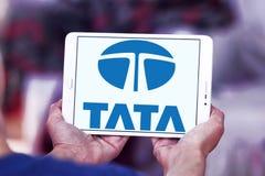 Tata car logo. Logo of tata car brand on samsung tablet Stock Image