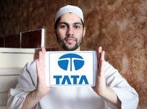 Tata car logo. Logo of tata car brand on samsung tablet  holded by arab muslim man Royalty Free Stock Image