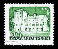 Tata, Castles (1960-64) serie, circa 1960. MOSCOW, RUSSIA - FEBRUARY 10, 2019: A stamp printed in Hungary shows Tata, Castles (1960-64) serie, circa 1960 stock photo