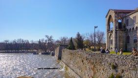 Tata Hungary 03 04 2017 tourists watching the old lake of Tata royalty free stock image