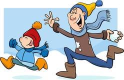 Tata i syn na zimy kreskówce Obraz Royalty Free