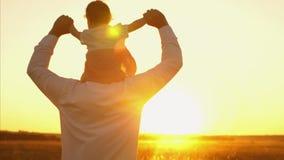 Tata znosi dziecka obsiadanie na jego ramionach przy zmierzchem złoty słońce szczęśliwy rodzinny odprowadzenie w lecie w parku, z zbiory wideo