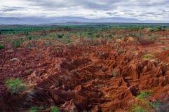 Tatacoa的概要红色沙子石头形成 免版税库存图片