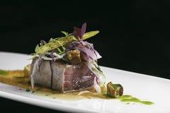 Tataki tuna and pork with vegetables Royalty Free Stock Image