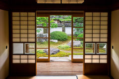 Tatami e Shoji o quarto japonês velho. fotos de stock
