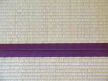 Tatami mat closeup with violet edging (heri). Straws visible Stock Photos