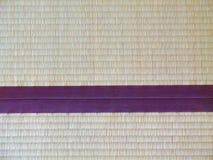 Tatami mat closeup with violet edging (heri). Stock Photos
