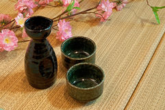 Tatami Mattress and sake bottle Stock Image