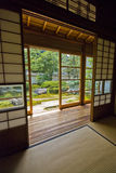 Tatami and Shoji room, Japan. Tatami and Shoji the old Japanese room. Outside is the garden Royalty Free Stock Photography