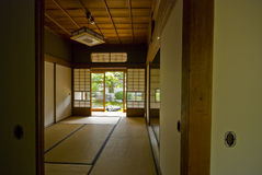 Tatami and Shoji room, Japan. Tatami and Shoji the old Japanese room. Outside is the garden Stock Photo