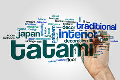 Tatami word cloud concept. Tatami word cloud on grey background Stock Images