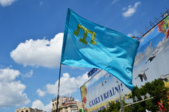 Tatar flag in the Ukrainian capital Royalty Free Stock Images