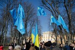 Tatar flags in the Ukrainian capital Royalty Free Stock Photos