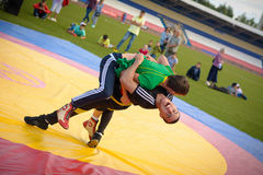 Tatar national wrestling. Photo Tatar national wrestlers performing power reception Royalty Free Stock Image