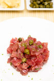 Tatar of raw tuna fish in vertical format Royalty Free Stock Photo
