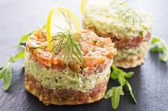 Tatar with Salmon and Avocado Royalty Free Stock Image