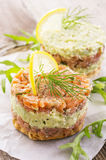 Tatar with Salmon and Avocado stock images