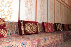 Tatar sofas in the Khans Palace Bakhchisaray. Tatar sofas reception halls of the Museum at the Palace of Bakhchisarai Stock Photography