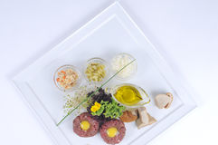 Tatare do bife da faixa da carne Foto de Stock Royalty Free