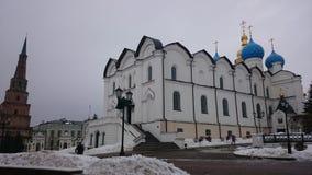 Tatarstan kazan De Orthodoxe Blagoveshchensk-kathedraal van Kazan het Kremlin is een prominent monument van Russische architectuu royalty-vrije stock afbeelding