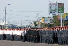 Tatarstan police days. Formation. Tatarstan police occasion days in Kazan. Sheriffs formation Royalty Free Stock Photo