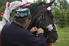 Tatarstan, Russia The horse in festive harness harnessed to a cart. On the cart sit a guy with a girl. Sabantuy is a Stock Photography