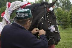 Tatarstan Ryssland hästen i den exploaterade festliga selet till en vagn På vagnen sitt en grabb med en flicka Sabantuy är a Arkivbild