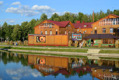Tatarstan, Zelenodolsk. Cafe by the lake Stock Photo