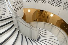 Tate Britain Spiral Staircase. Architectural Patters. Classic Pillars Royalty Free Stock Photo