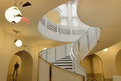 Tate Britain Spiral Staircase. Architectural Patters. Classic Pillars Stock Image